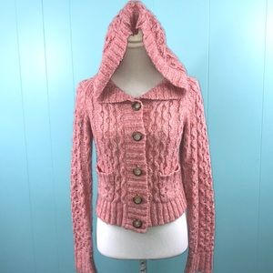 Free People Chunky Knit Cropped Cardigan with Hood